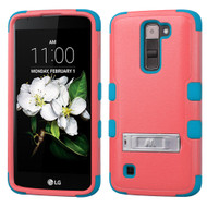 Military Grade Certified TUFF Hybrid Armor Case with Stand for LG K7 / Treasure LTE / Tribute 5 - Pink Teal