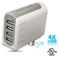 Naztech N260 Quad USB 4.8A Travel Wall Charger - White