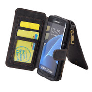 Luxury Coach Series Leather Wallet with Removable Magnet Case for Samsung Galaxy S7 Edge - Black
