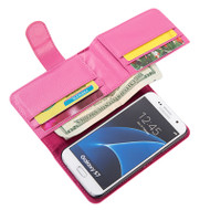 *SALE* Deluxe Leather Wallet Case for Samsung Galaxy S7 - Hot Pink