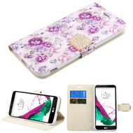 Art Design Portfolio Leather Wallet for LG G5 - Fresh Purple Flowers