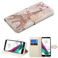 Art Design Portfolio Leather Wallet for LG G5 - Eiffel Tower