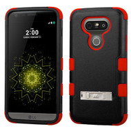 Military Grade Certified TUFF Hybrid Armor Case with Stand for LG G5 - Black Red