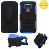 Advanced Armor Hybrid Kickstand Case with Holster for LG G5 - Black Blue