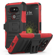 *Sale* Advanced Armor Hybrid Kickstand Case with Holster for LG G5 - Black Red