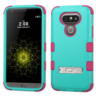 Military Grade Certified TUFF Hybrid Armor Case with Stand for LG G5 - Teal Hot Pink