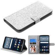 Diamante Leather Wallet Case for LG G Stylo / Vista 2 - Silver