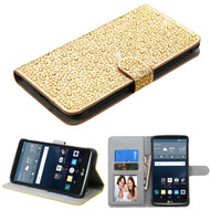 *Sale* Diamante Leather Wallet Case for LG G Stylo / Vista 2 - Gold