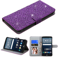 Diamante Leather Wallet Case for LG G Stylo / Vista 2 - Purple