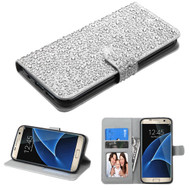 Diamante Leather Wallet Case for Samsung Galaxy S7 Edge - Silver