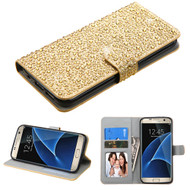 *SALE* Diamante Leather Wallet Case for Samsung Galaxy S7 Edge - Gold