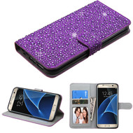 Diamante Leather Wallet Case for Samsung Galaxy S7 Edge - Purple