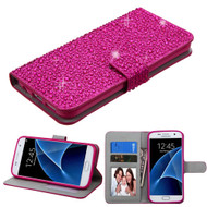 Diamante Leather Wallet Case for Samsung Galaxy S7 - Hot Pink