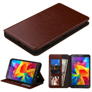 Book-Style Leather Folio Case for Samsung Galaxy Tab 4 7.0 - Brown