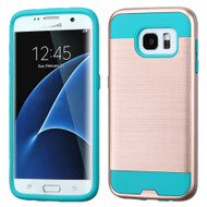 Brushed Hybrid Armor Case for Samsung Galaxy S7 Edge - Rose Gold Teal
