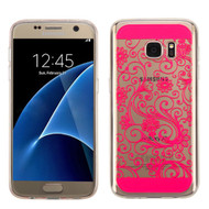 Floral Rubberized Crystal Case for Samsung Galaxy S7 - Hot Pink
