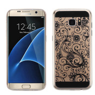 Floral Rubberized Crystal Case for Samsung Galaxy S7 Edge - Black