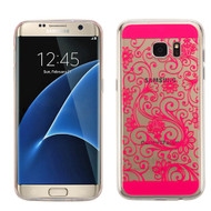 Floral Rubberized Crystal Case for Samsung Galaxy S7 Edge - Hot Pink