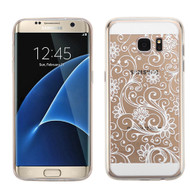 Floral Rubberized Crystal Case for Samsung Galaxy S7 Edge - White