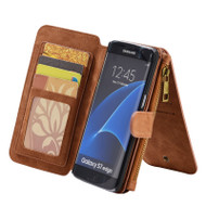 Luxury Coach Series Leather Wallet with Removable Magnet Case for Samsung Galaxy S7 Edge - Brown