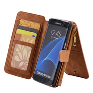 *SALE* Luxury Coach Series Leather Wallet with Removable Magnet Case for Samsung Galaxy S7 Edge - Brown