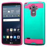 Brushed Hybrid Armor Case for LG G Stylo / Vista 2 - Teal Hot Pink