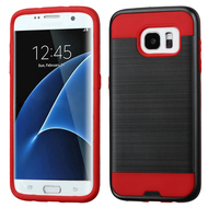 Brushed Hybrid Armor Case for Samsung Galaxy S7 Edge - Black Red