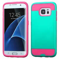 Brushed Hybrid Armor Case for Samsung Galaxy S7 Edge - Teal Hot Pink