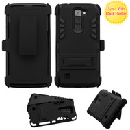 Dual Layer Hybrid Holster Armor Case with Belt Clip for LG K7 / K8 / Escape 3 / Treasure LTE / Tribute 5 - Black