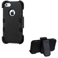 Military Grade TUFF Hybrid Armor Case with Holster for iPhone SE / 5S / 5 - Black