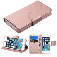 Diary Leather Wallet Case for iPhone SE / 5S / 5 - Rose Gold