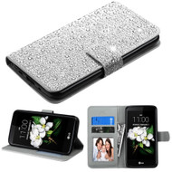 Diamante Leather Wallet Case for LG K7 / K8 / Escape 3 / Treasure LTE / Tribute 5 - Silver