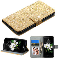 Diamante Leather Wallet Case for LG K7 / K8 / Escape 3 / Treasure LTE / Tribute 5 - Gold