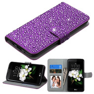 Diamante Leather Wallet Case for LG K7 / K8 / Escape 3 / Treasure LTE / Tribute 5 - Purple