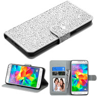 Diamante Leather Wallet Case for Samsung Galaxy Grand Prime - Silver