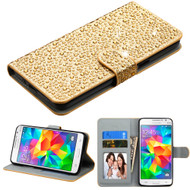 Diamante Leather Wallet Case for Samsung Galaxy Grand Prime - Gold