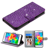Diamante Leather Wallet Case for Samsung Galaxy Grand Prime - Purple