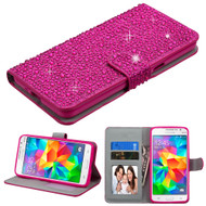 Diamante Leather Wallet Case for Samsung Galaxy Grand Prime - Hot Pink