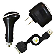 *SALE* 3-IN-1 Power Adapter Kit - USB Cable / AC / Car Charger - Black