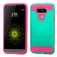 Brushed Hybrid Armor Case for LG G5 - Teal Hot Pink