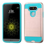 Brushed Hybrid Armor Case for LG G5 - Rose Gold Teal