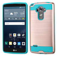 Brushed Hybrid Armor Case for LG G Stylo / Vista 2 - Rose Gold Teal