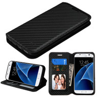 Book-Style Leather Folio Case for Samsung Galaxy S7 - Carbon Fiber