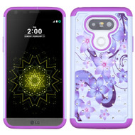 TotalDefense Diamond Hybrid Case for LG G5 - Purple Hibiscus Flower Romance
