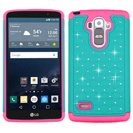 TotalDefense Diamond Hybrid Case for LG G Stylo / Vista 2 - Teal Hot Pink