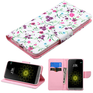 Executive Graphic Leather Wallet Case for LG G5 - Falling Flowers