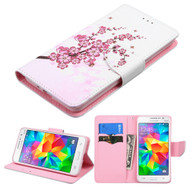 Executive Graphic Leather Wallet Case for Samsung Galaxy Grand Prime - Spring Flowers