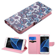 Executive Graphic Leather Wallet Case for Samsung Galaxy S7 Edge - Persian Paisley