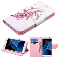 Executive Graphic Leather Wallet Case for Samsung Galaxy S7 - Spring Flowers
