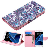 Executive Graphic Leather Wallet Case for Samsung Galaxy S7 - Persian Paisley